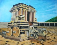Stone Chariot - Hampi by Venugopal Sunkad, Impressionism Painting, Acrylic on Canvas, Brown color