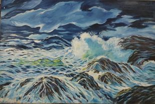 Sea Escape by Nisha, Expressionism Painting, Oil on Canvas Board,