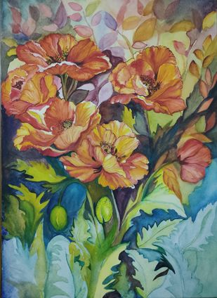Bouquet by Nisha, Impressionism Painting, Pen, pencil, watercolour on paper,