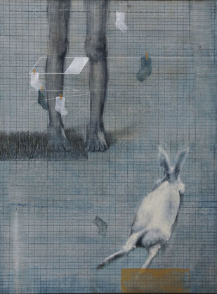 Hopscotch! by ritu mehra, Minimalism Painting, Mixed Media on Canvas,