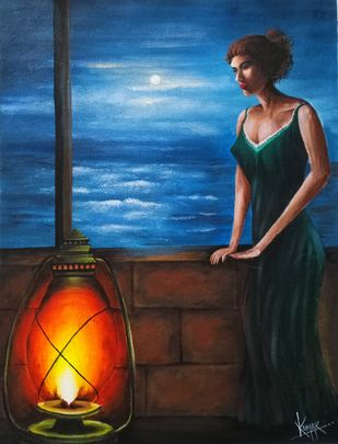Night mood by Kumar Ranadive, Expressionism Painting, Acrylic on Canvas, Blue color
