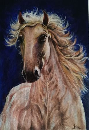 Horse by Kumar Ranadive, Expressionism Painting, Acrylic on Canvas, Brown color
