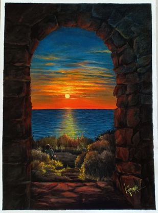 Sunset by Kumar Ranadive, Expressionism Painting, Acrylic on Canvas, Gray color