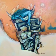 Inspiration by Jai Srivastava, Illustration Painting, Acrylic on Canvas, Beige color