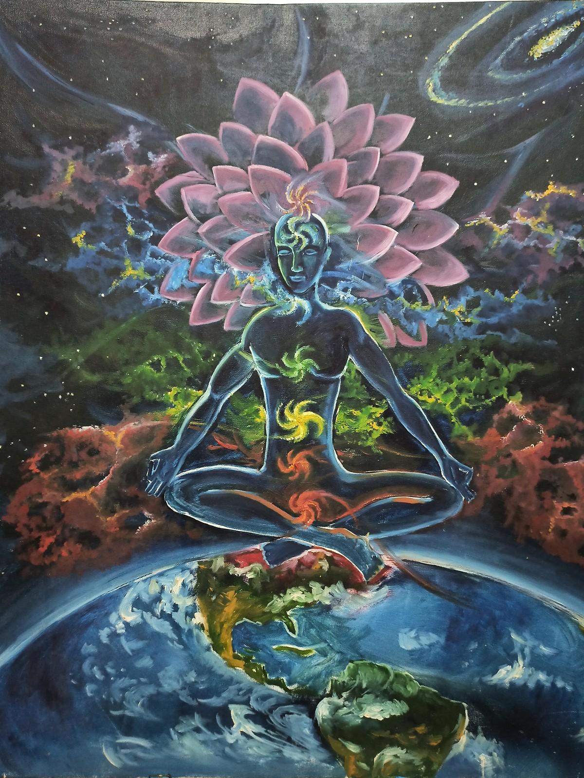 7 Chakras Digital Print by Herendra Swarup ,Expressionism