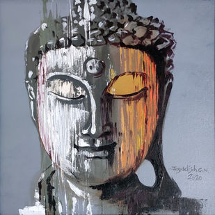 Enlightenment -7 by Jagadish Gadagin, Expressionism Painting, Acrylic on Canvas, Gray color