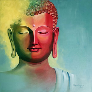 Enlightenment -7 by Jagadish Gadagin, Expressionism Painting, Acrylic on Canvas, Cyan color