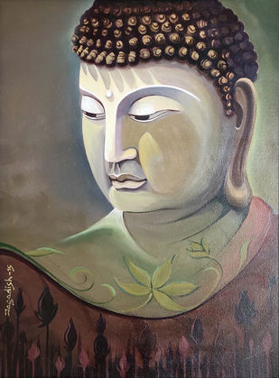 Enlightenment -8 by Jagadish Gadagin, Expressionism Painting, Acrylic on Canvas, Brown color