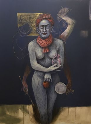 Frida-in heaven (series on great artist) by Vijay Kale, Fantasy Painting, Acrylic on Canvas, Gray color