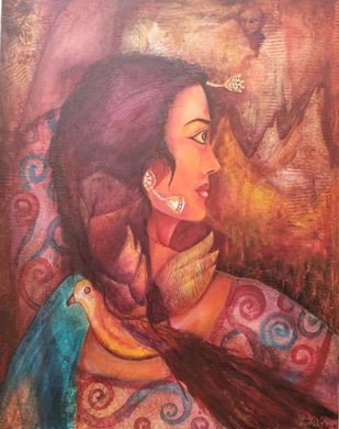 Dancer by Rupal Buch, Expressionism Painting, Acrylic on Canvas, Brown color