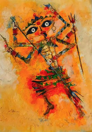 Mahakali by Archana Sharma, Expressionism Painting, Acrylic on Canvas, Brown color