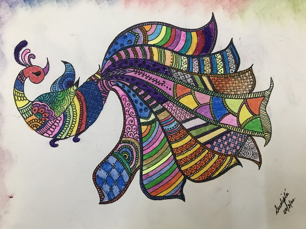 Madhubani peacock by Sudipta Dey, Decorative Drawing, Ink & Pastels on Paper, Tuna color