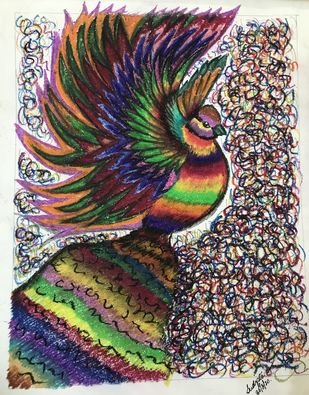 Icchey dana by Sudipta Dey, Decorative Drawing, Ink & Pastels on Paper, Bone color