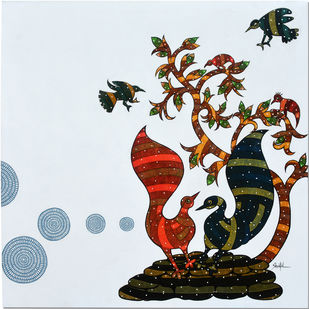 Gond Art by Sheetal Chitlangiya, Tribal Painting, Acrylic on Canvas, Cyan color