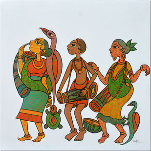 Gond Art by Sheetal Chitlangiya, Tribal Painting, Acrylic on Canvas, Cyan color