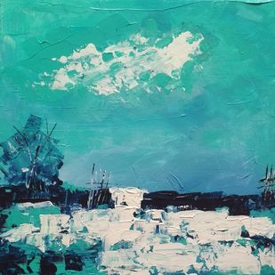 Landscape 2019_19 by Anamika S, Abstract Painting, Acrylic on Canvas, Cyan color