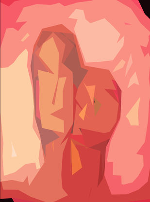 Paired Faces by Poovannan , Digital Digital Art, Digital Print on Paper, Pink color