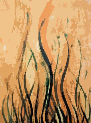 Plant Fire by Poovannan , Digital Digital Art, Digital Print on Paper, Beige color