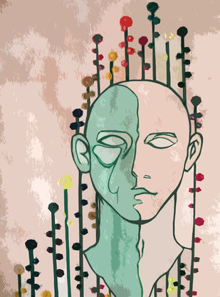 Dual Faced Life by Poovannan , Digital Digital Art, Digital Print on Paper, Beige color
