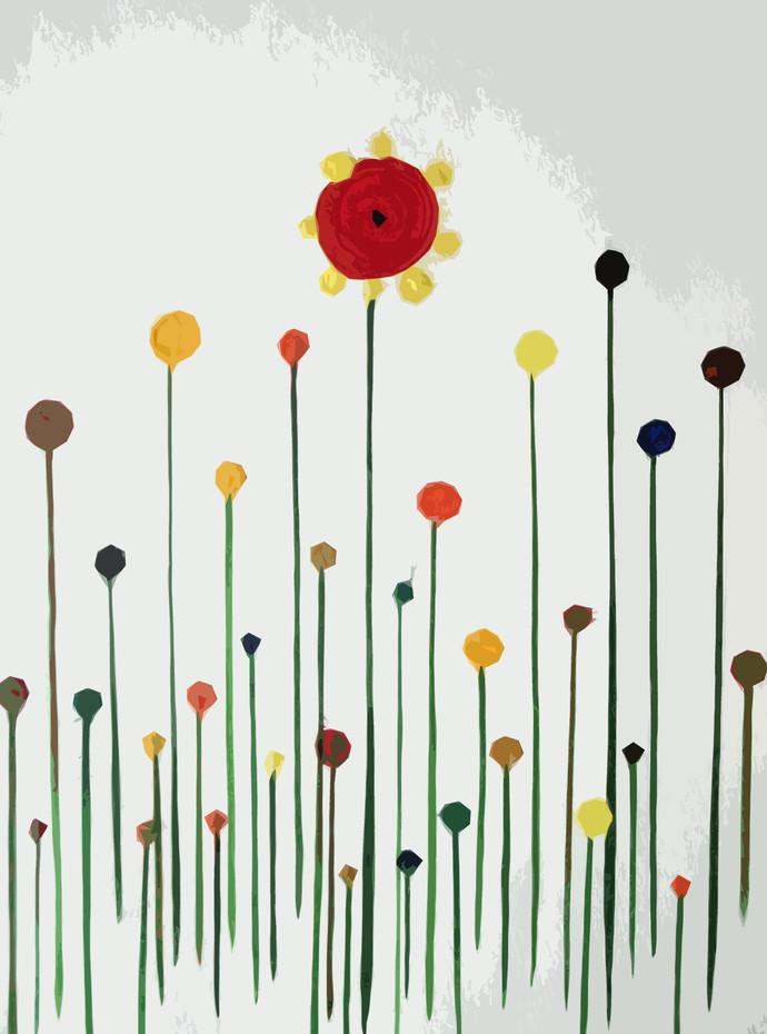 Time for Flowers by Poovannan , Digital Digital Art, Digital Print on Paper, Gray color