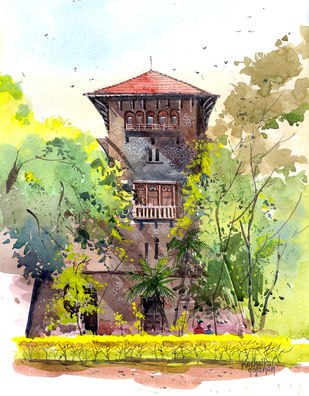 COEP Pune by Gajanan Kashalkar, Impressionism Painting, Watercolor on Paper, Beige color