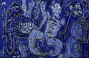 Combined effort- IV by Bhuwal Prasad, Expressionism Painting, Acrylic on Canvas, Blue color