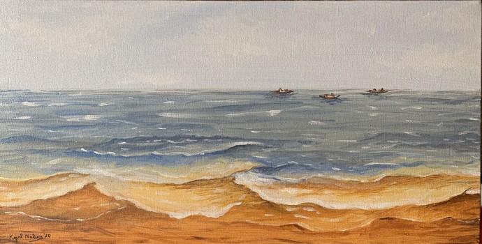 Fishing boats -Goa by Kajal Nalwa, Impressionism Painting, Acrylic on Canvas, Gray color