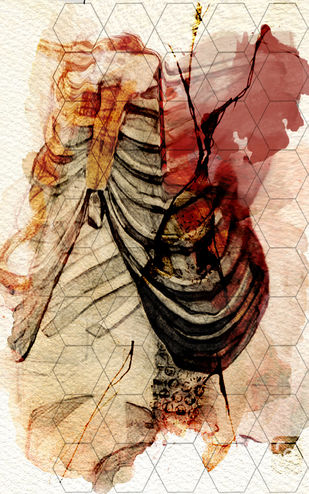 untitled by Gopal Mehan, Expressionism Painting, Watercolor and charcoal on paper, Beige color
