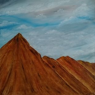Mountain by Jahnavi KJ, Expressionism Painting, Oil on Canvas, Brown color