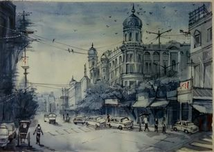 Kolkata's Street by Krishnendu Halder, Expressionism Painting, Watercolor on Paper, Gray color