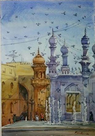 Macca Masjid by Krishnendu Halder, Impressionism Painting, Watercolor on Paper, Brown color