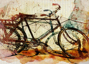 Memories 2 by Gopal Mehan, Impressionism Painting, Watercolor and charcoal on paper, Beige color