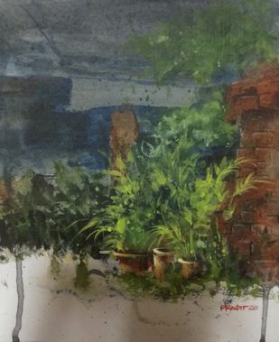 tree pot by Pradipkumar Jadhav, Impressionism Painting, Acrylic on Board, Green color