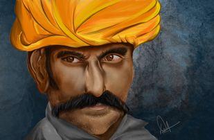 Pride of Rajasthan by Deepankar, Expressionism Digital Art, Digital Print on Enhanced Matt, Brown color
