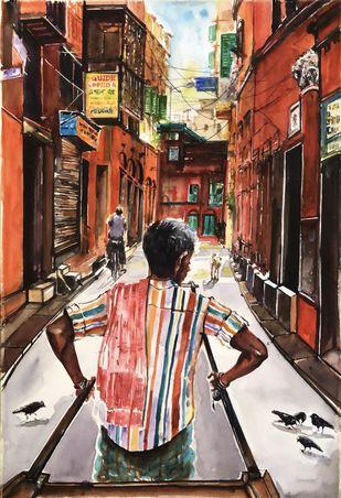 Calcutta Rickshaw _North Calcutta Lanes by Avanish Trivedi, Impressionism Painting, Watercolor on Paper, Brown color