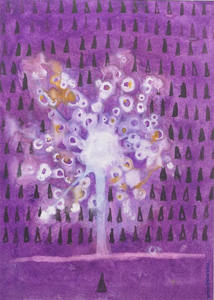 nature by Arpita Yogesh Pawar, Expressionism Painting, Watercolor on Paper, Purple color
