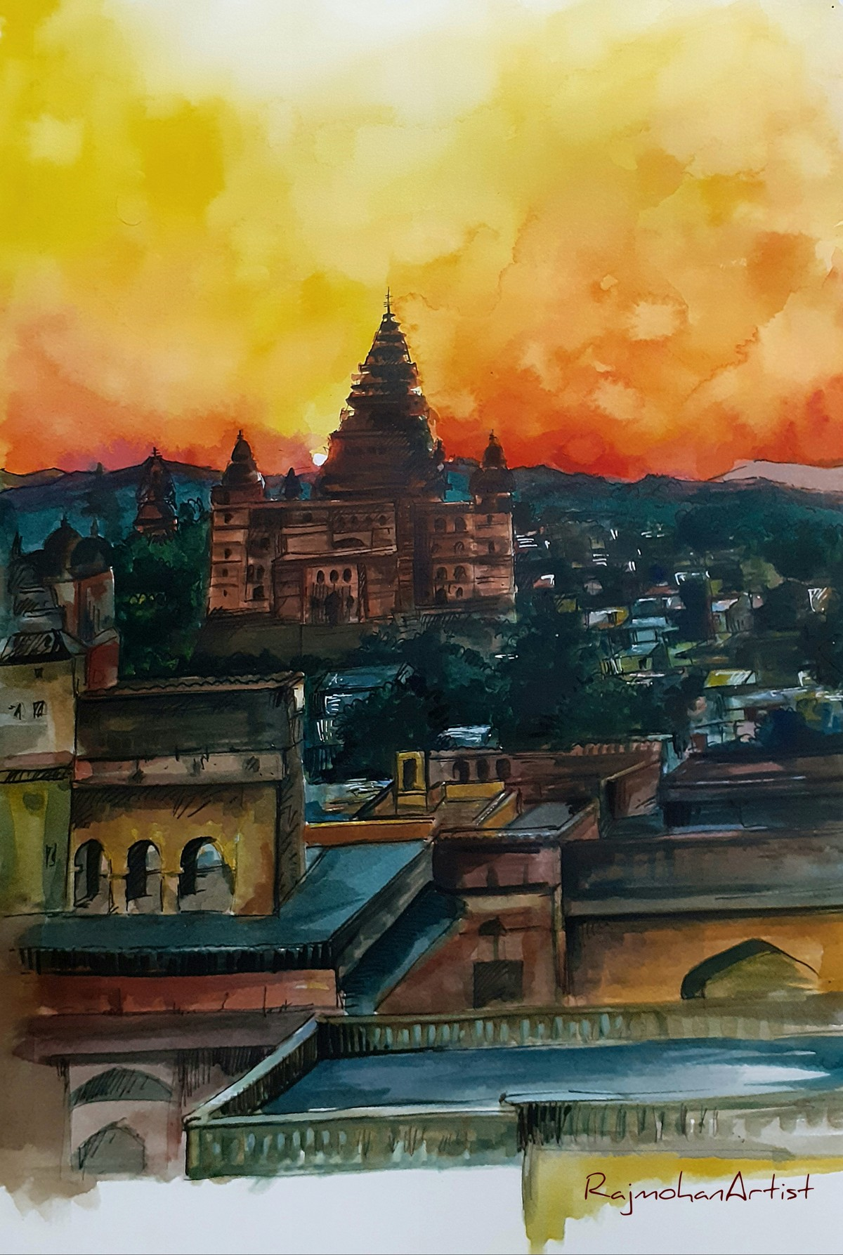 CityScape by Rajmohan, Impressionism Painting, Watercolor & Ink on Paper, Brown color