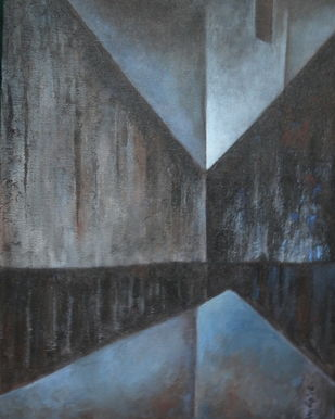 Untitled by Pradip Chaudhuri, Geometrical Painting, Acrylic on Canvas, Gray color