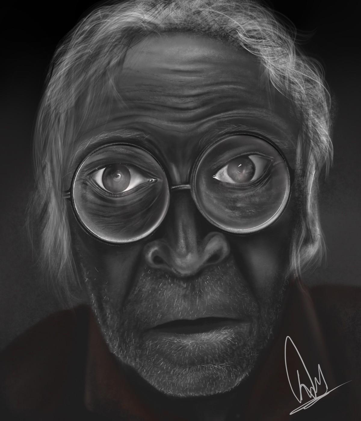 Angst by Deepankar, Expressionism Digital Art, Digital Print on Enhanced Matt, Gray color