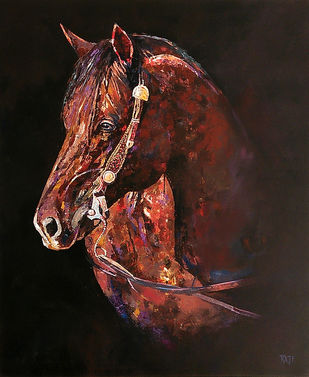 HOURSE by Raji Pavithran, Photorealism Painting, Acrylic on Canvas, Brown color
