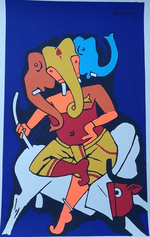 Ganesh by M F Husain, Expressionism Serigraph, Serigraph on Paper, Blue color
