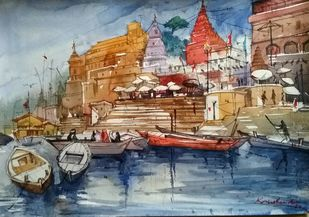 Ghat Series by Krishnendu Halder, Impressionism Painting, Watercolor on Paper, Brown color