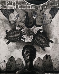 untitle by Tribhuvan Kumar, Surrealism Printmaking, Etching on Paper, Gray color