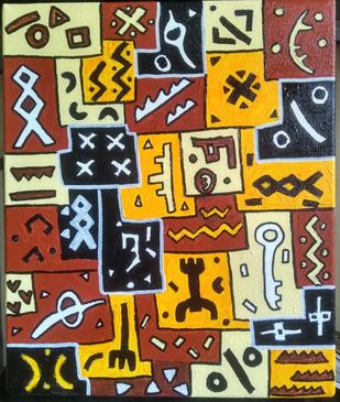 Kuba_Cracker by Scharada Dubey, Art Deco Painting, Acrylic & Ink on Canvas, Brown color