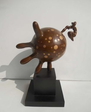 Inflated Palm by Jayanta Bhattacharya, Art Deco Sculpture   3D, Bronze, Gray color