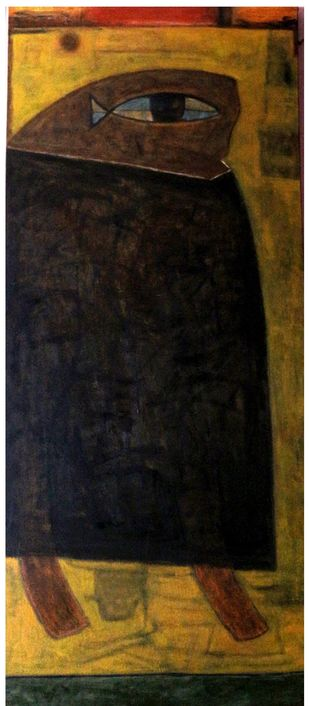 Untitled by Umesh Bhoi, Expressionism Painting, Oil on Canvas, Brown color