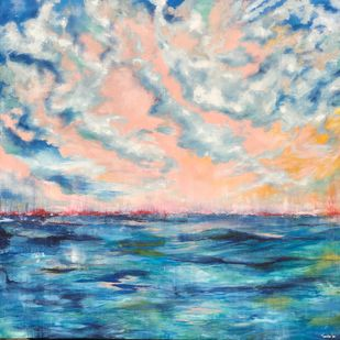 Day at Sea by Tvesha Singh, Abstract Painting, Acrylic on Canvas, Cyan color