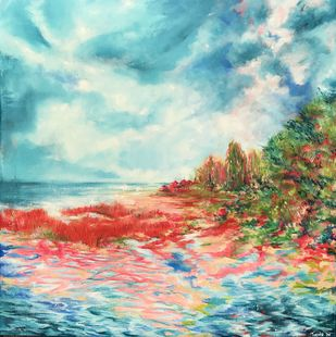 Red Beach by Tvesha Singh, Abstract Painting, Acrylic on Canvas, Cyan color