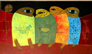 Tribal Family by Umesh Bhoi, Expressionism Painting, Oil on Canvas, Brown color