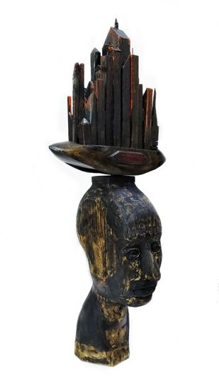Never Refrain (made to touch) by Dilawar Khan, Art Deco Sculpture | 3D, Wood, Dune color